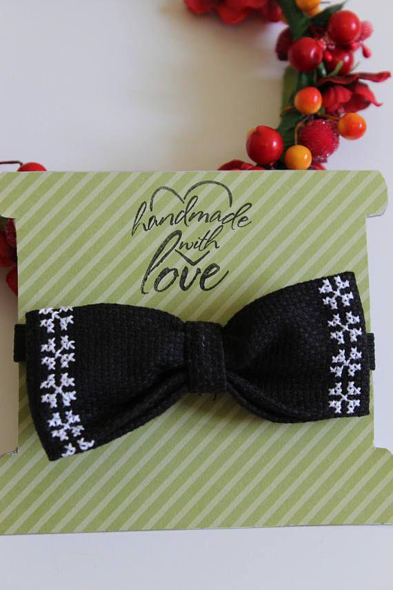 Black and White Cross Stitch Bow Headband  Nylon Bow Headband