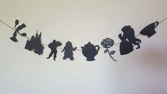 Belleza y la bestia fiesta decoración del empavesado bella y la bestia disney inspirado en disney fiesta decoración decoración negro princesa partido