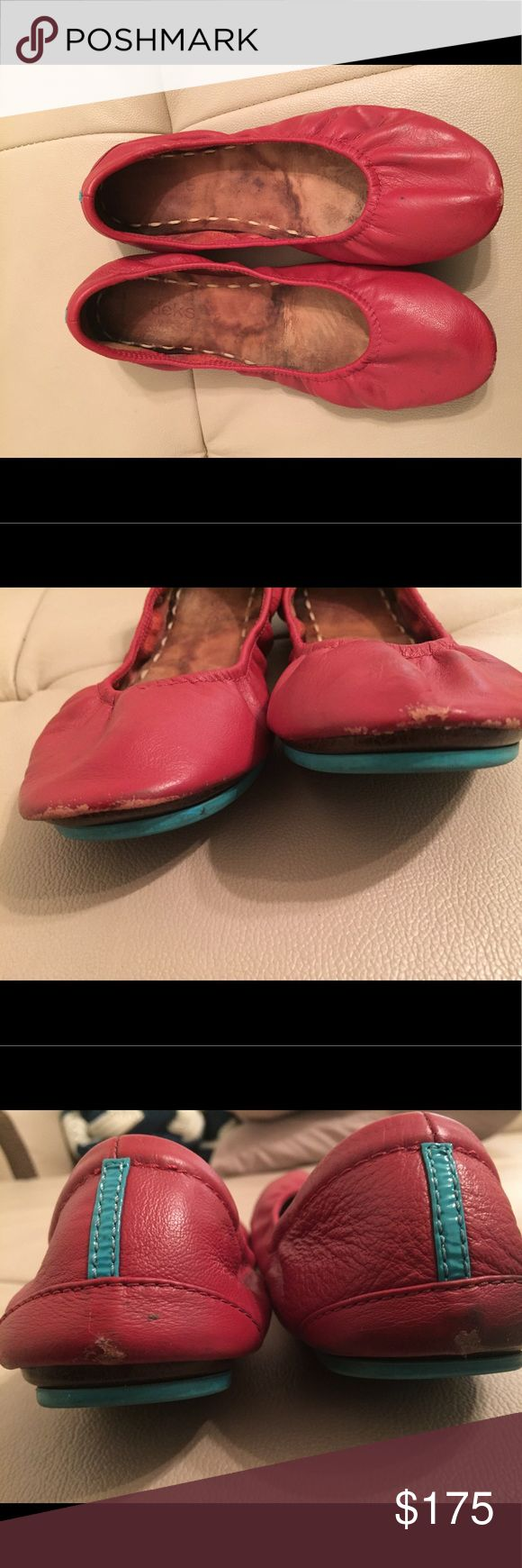 Used Cardinal Red Tieks. Comes with bag, NO box. Cardinal red Tieks. These shoes have been worn MANY times, but they still have lots to give.  Purchase comes with bag but NO box.  ALL SALES ARE FINAL. Tieks Shoes Flats & Loafers