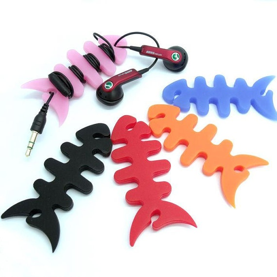Etsy: $7.01 10 pcs Silicone Fish Bone Earphone Headphone Headset Cord Winder Wrap For Apple iPhone 4S 5 iPod Touch 3G 4G LTE Wi-Fi PA93 (Free Shipping)
