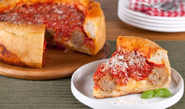 Stefano's Deep-Dish Meatball Pizza
