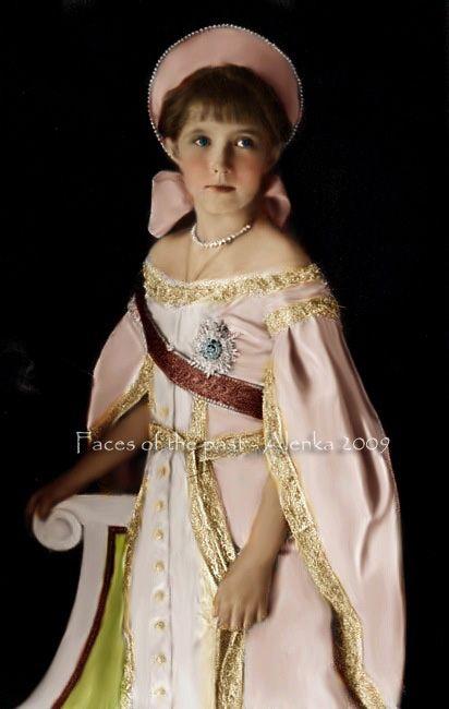 Grand Duchess Anastasia Nikolaevna Romanova of Russia (1901-1918), colorized photograph, in full court dress ca. 1911