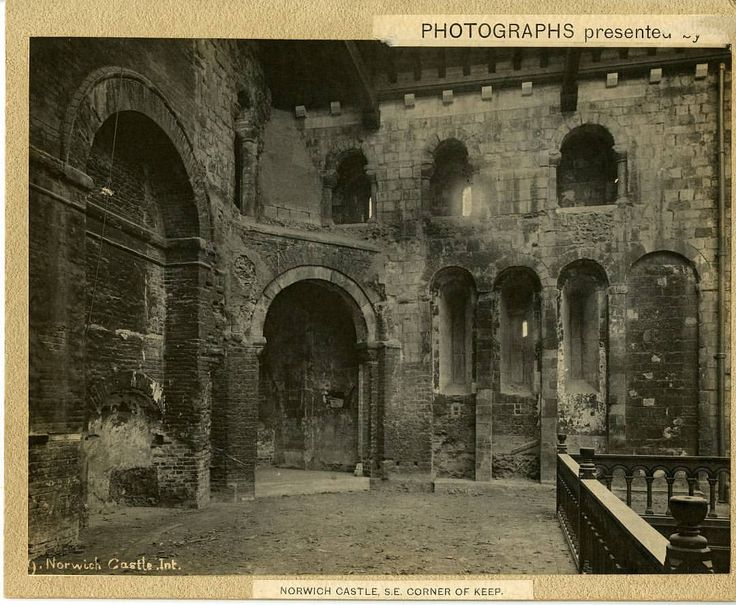 """Norwich Castle Keep """"The King's Chapel area is shown here in the early 1890s before Norwich Castle re-opened as a museum, and the balcony floor isn't quite finished. The brick archways on the left were put in during the centuries that the castle keep was used as a prison, and can still be seen today."""""""