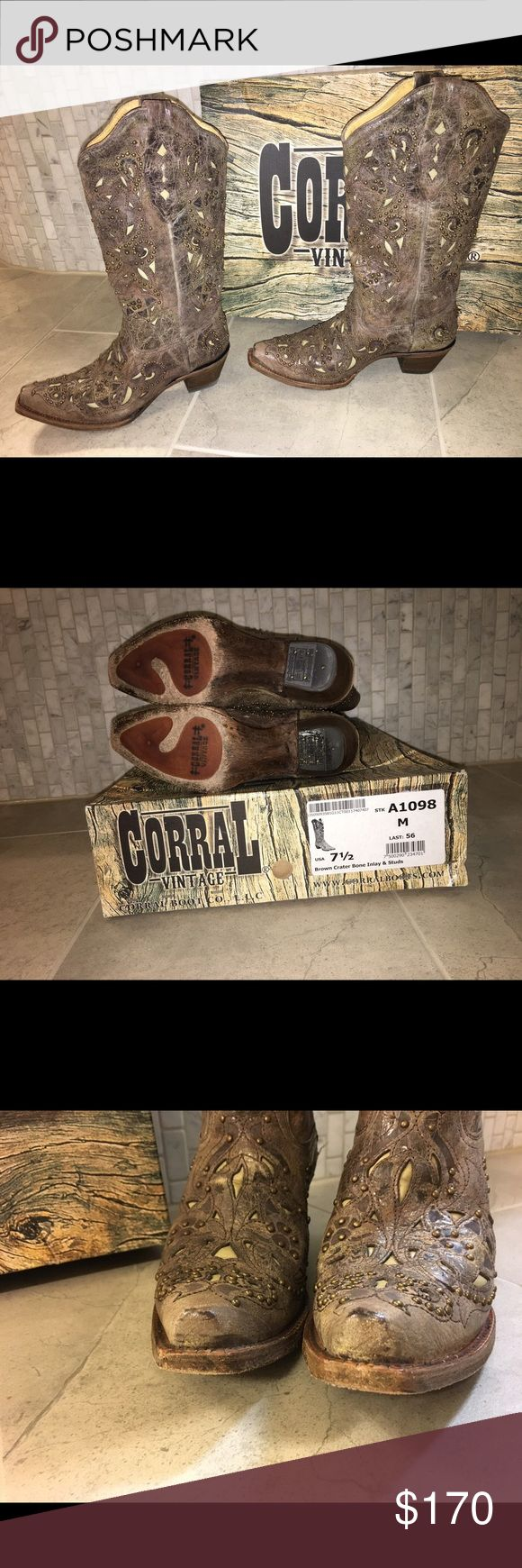 "Corral Vintage boots!  Cowgirl boots. Only worn once!  Minor scuff as pictured on the toes.  2"" western fashion heel. Hand crafted Brown Cowhide leather foot and shaft. Brown goat inlay and small bronze studs decorate boot in vintage style. Lightly cushioned Insole.  Looks great with dresses, skirts, shorts, and jeans!  Original box included. Boots have that new leather smell❤ corral Shoes Heeled Boots"