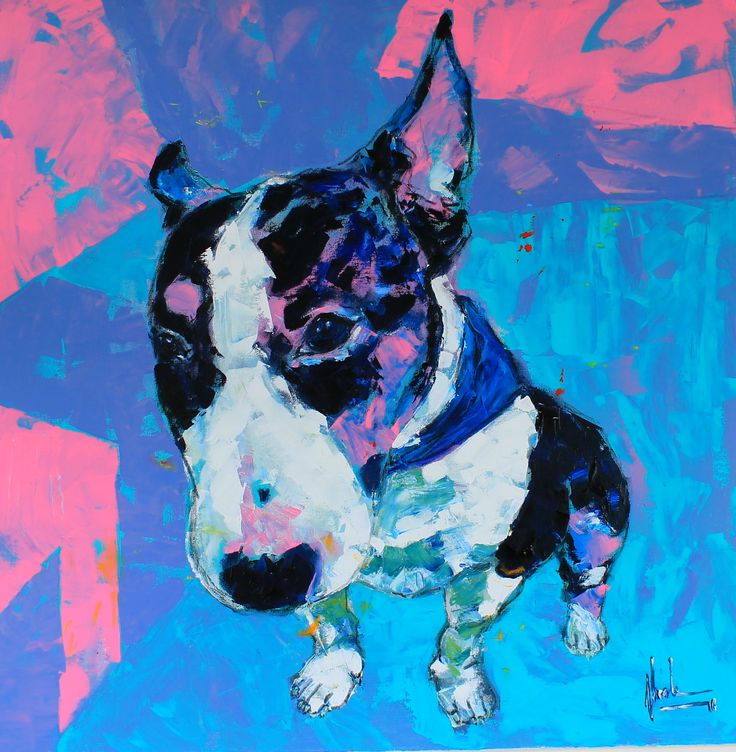 Audi the mini Bull Terrier II Mixed Medi on canvas