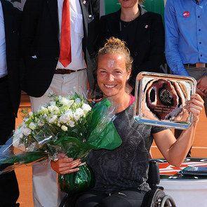 Women's WC singles. 2015 women's wheelchair singles champion Jiske Griffioen. Sunday 07 June 2015. © FFT