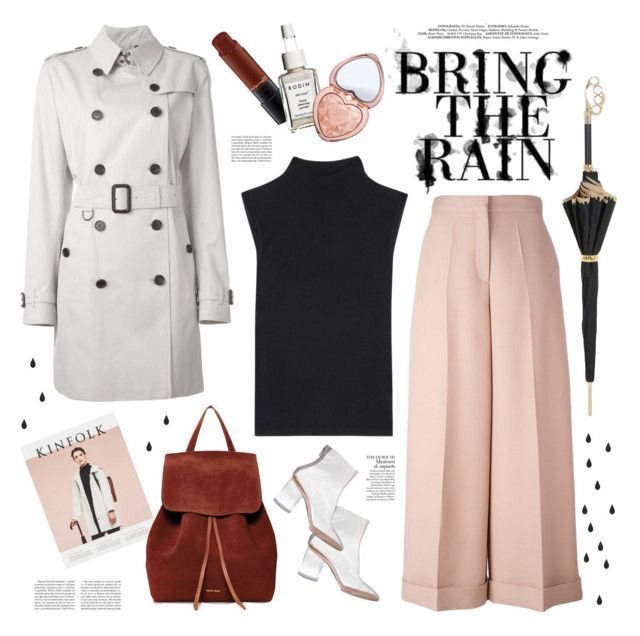 """""""april showers"""" by jesuisunlapin ❤ liked on Polyvore featuring DuÅ¡an, MAC Cosmetics, Rodin, Too Faced Cosmetics, Pasotti Ombrelli, Mansur Gavriel, ferm LIVING, Burberry, T By Alexander Wang and Valentino"""