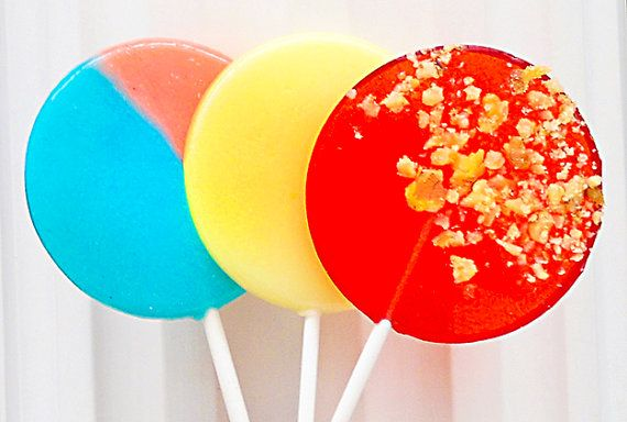 Carnival & Circus Gourmet Lollipop Assortment - Cotton Candy, Candy Apple, Kettle Corn - Set of 7 - LARGE 2.5 Inch Lollipops on Etsy, $12.00