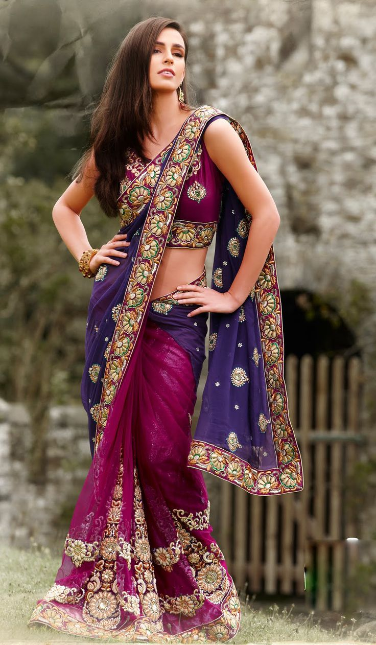OMG super pretty colors! -Dark Pink Faux Georgette Shimmer Designer Indian Saree