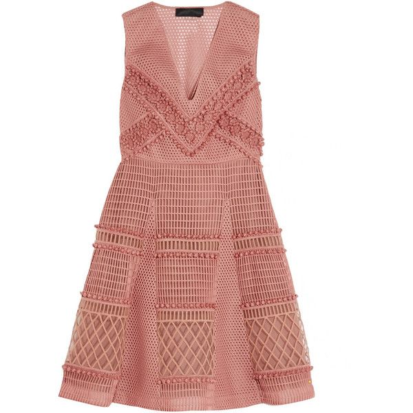 Burberry Prorsum Embroidered honeycomb-mesh mini dress ($2,435) ❤ liked on Polyvore featuring dresses, vestidos, burberry, pink, embroidered dress, pink floral dress, red rose dress, short floral dresses and honey comb