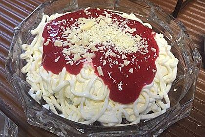 Spaghetti-Eis Dessert, ein tolles Rezept aus der Kategorie Frühling. Bewertungen: 302. Durchschnitt: Ø 4,8.