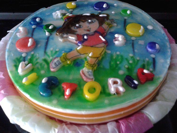 """Gelatina 8"""", capas de colores. Motivo Dora"""