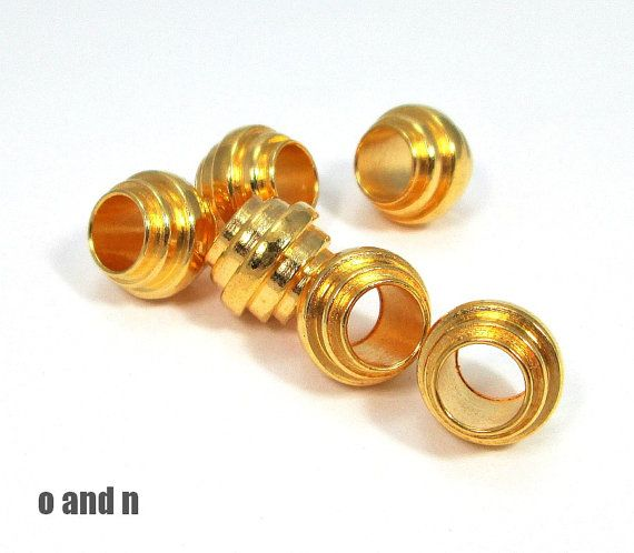 18k gold plated barrel  bead 9mm   4 pieces by OandN on Etsy, $3.00 #goldplated #jewelrysupplies
