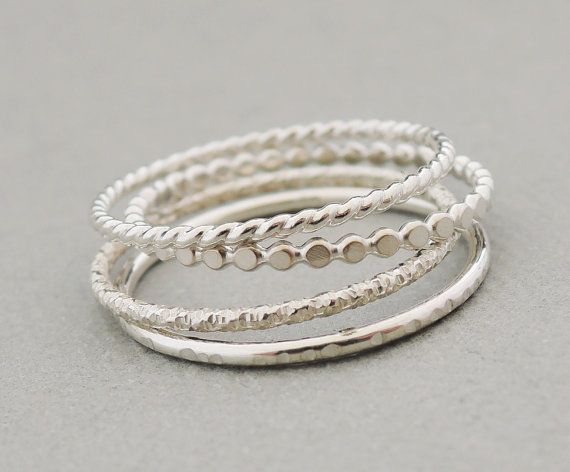 Sterling Silver Rings Stacking Rings set of 4 thin by bluebirdss