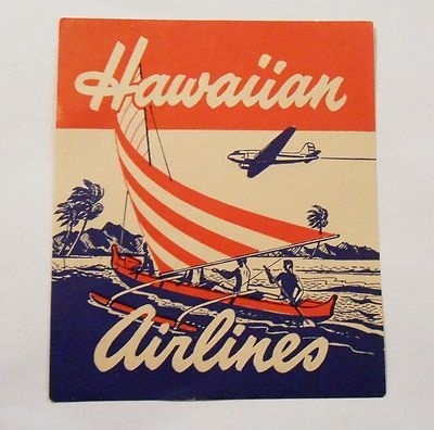 Vintage Hawaiin Airlines Souvenir Advertising Luggage Travel Sticker | eBay..