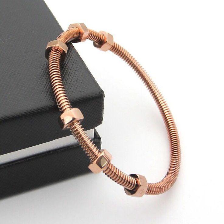 BeadyBoutique Love Bracelet Screws and Bolts Rose Gold