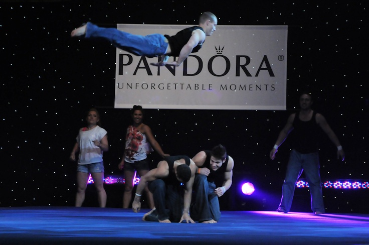 Steven Legendre (top) with Chris Brooks and Danell Leyva during 2011 Progressive Skating & Gymnastics Spectacular. (C) Brittany Evans
