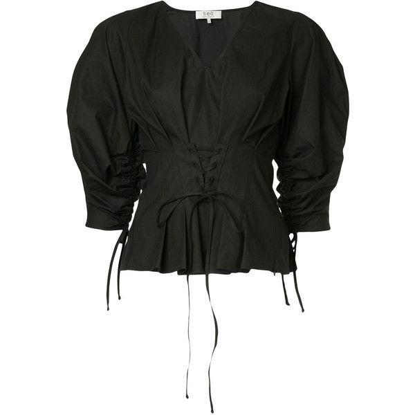 Sea corseted blouse ($423) ❤ liked on Polyvore featuring tops, blouses, black, tie corset, sea, new york, corset blouse, banded waist tops and v neck blouse