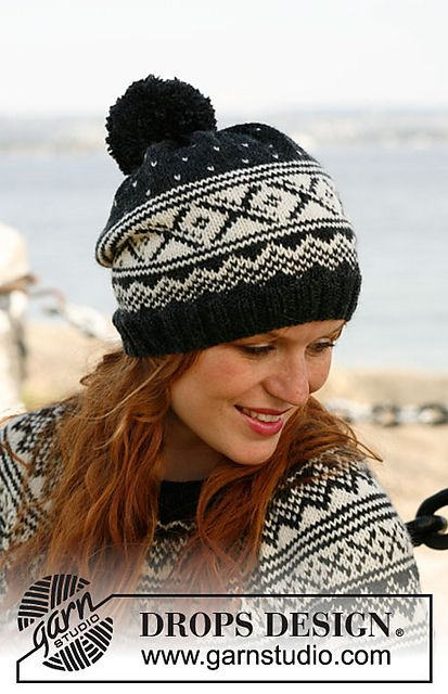 "Ravelry: 131-13 ""Nordic Nights"" - Hat with Norwegian pattern and large pompom pattern by DROPS design"