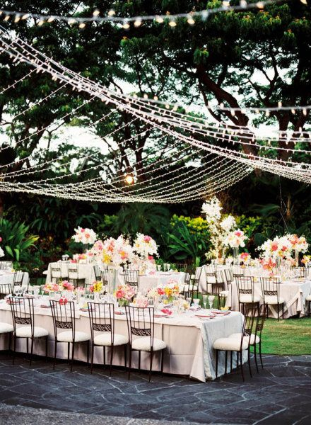 Outdoor Garden Wedding.  So pretty, and I love that the tables are different sizes but all decorated the same way. Makes it easy to seat families of different sizes.