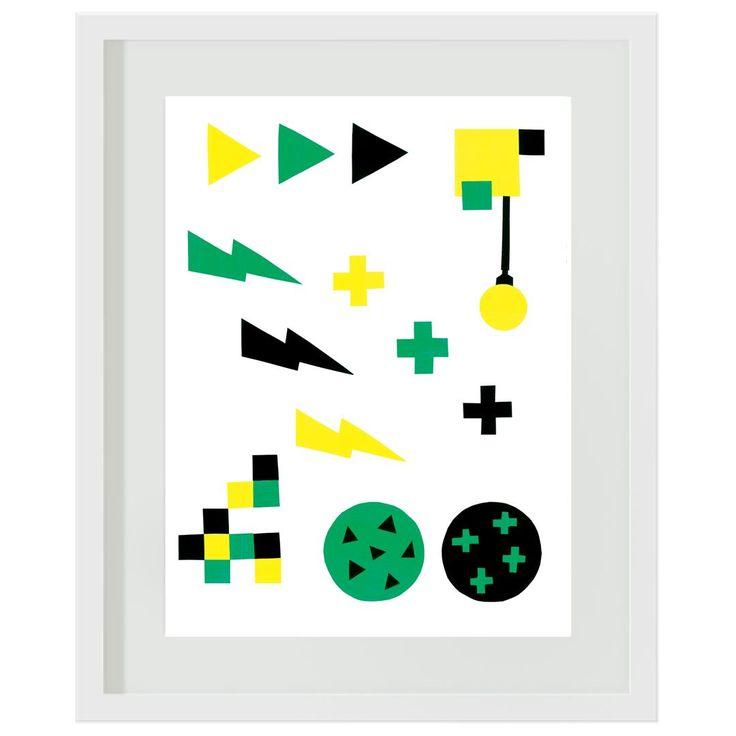 Green and Yellow Storm: #boys #green #yellow #bedroom #decor #wallart #artprints #lightning #crosses #minecraft