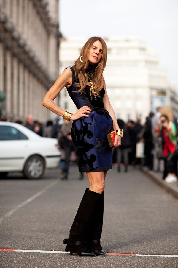 anna dello ruso - givenchy boots with formal dress