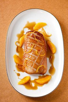 Gebraden eend met sinaasappelsaus