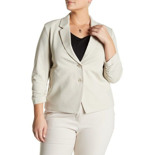 Amanda & Chelsea Two Button Blazer (Plus Size) (76 CAD) ❤ liked on Polyvore featuring outerwear, jackets, blazers, plus size, stone, womens plus jackets, women's plus size jackets, women's plus size blazers, stoner jackets and plus size 3/4 sleeve blazer