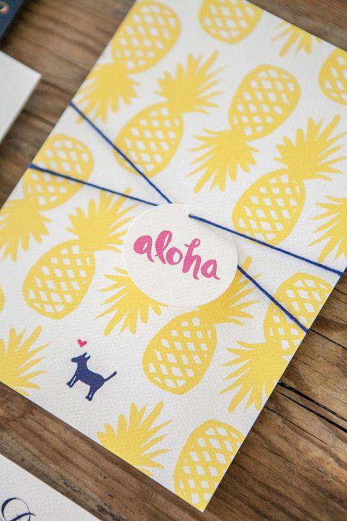 Tropical Kauai, Hawaii Destination Wedding Invitations   By Orange Paper Shoppe   Photo by Kristina Lee Photography