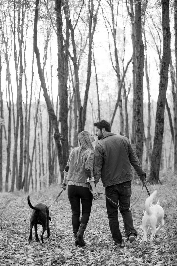 © Julia Jane Studios | Daily Dog Tag | Fall-engagement-session-in-woods-with-dogs,