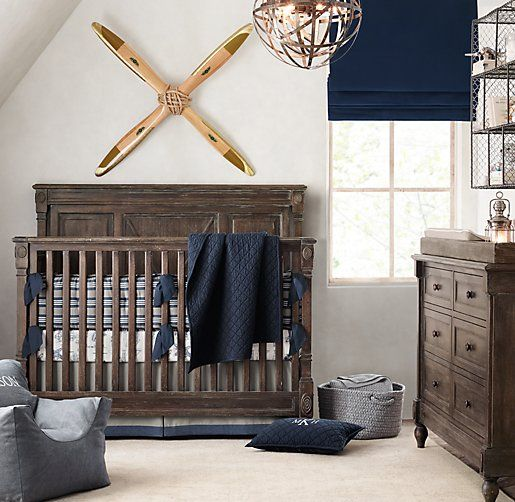 Just ordered! Vintage Airplane Blueprint Crib Fitted Sheet. Room color.
