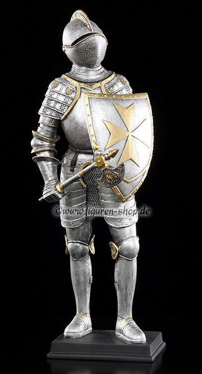 Mittelalterliche Ritter Figur - Axt und Schild - Deko Statue Knight Veronese