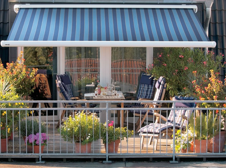 Blue Striped Awning For Outdoor Terrace