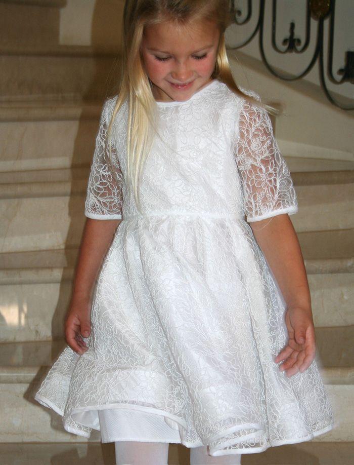 Beautiful Half Sleeve Girls Communion Dress