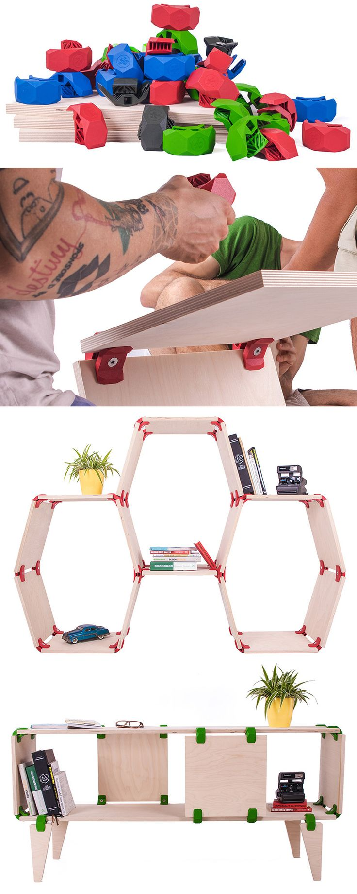 PlayWood Allows You To Create Your Own Furniture Designs /// Created by a team of designers in Italy, PlayWood is a simple connector that allows you to create your own modular furniture.