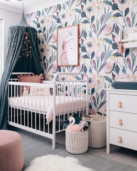 Teal And Purple Floral Wallpaper For Baby Girl Nursery This Site Has A Ton Of Great Wallpaper Idea Pink Nursery Walls Baby Girl Nursery Pink Girl Nursery Pink