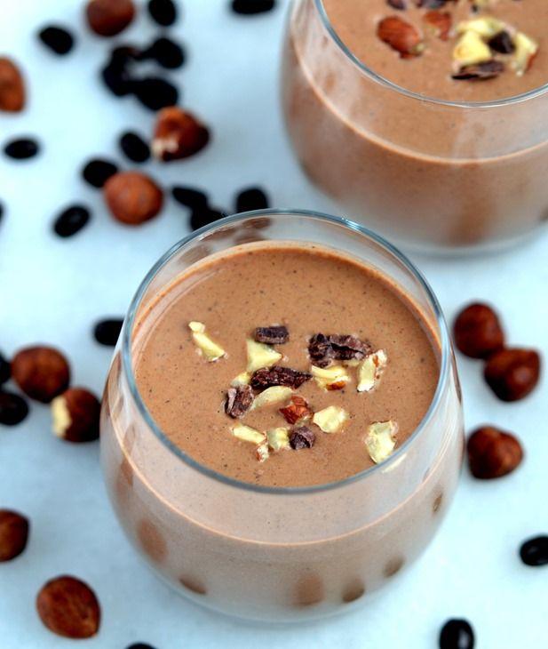 Healthy Mocha-Hazelnut Shake.  I love this for dessert or breakfast! | coconutandberries.com