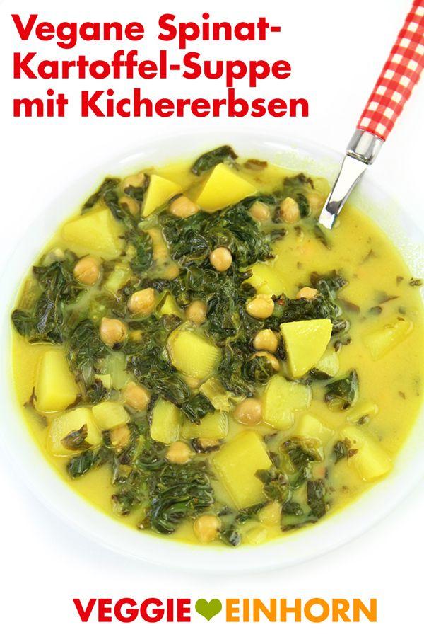Espinafre vegan e sopa de batata com grão de bico e leite de coco