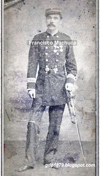 Subteniente Francisco Machuca, se incorpora el ejercito chileno en mayo de 1879 como subteniente del Batallón Coquimbo, en el que participó en la guerra del Pacifico.