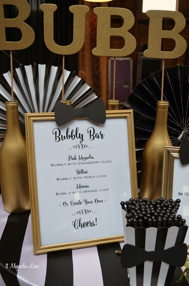 Bubbly Bar -  Formal event decor: black and white stripes with gold