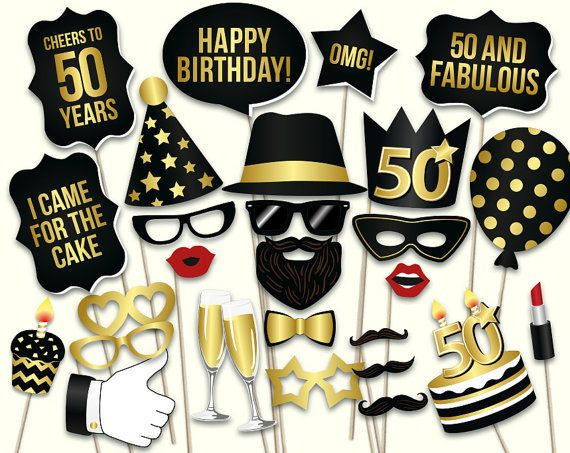 50th birthday photo booth props: printable PDF. Black and gold Fiftieth birthday party supplies. Instant download Mustache, lips, glasses