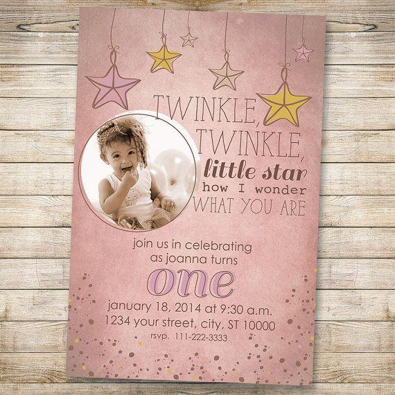 twinkle twinkle little star birthday invitation shabby chic