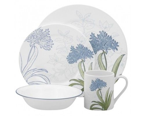 Corelle Freesia 16pc Dinner Set - 4 dinner plates 4 luncheon plates 4 cereal bowls and 4 stoneware mugs. #Corelle #DinnerSet #PopatStores