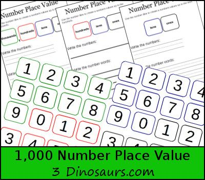 Free 1,000 Number Place Value 3 types with number tiles for matching correct place - 3Dinosaurs.com