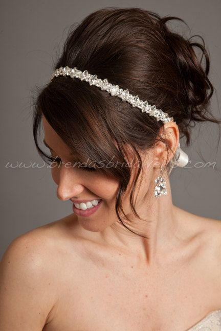 Crystal Rhinestone Ribbon Tie On Headband, Marquise and Round Cut Rhinestones, Wedding Headband - Jolie. $74.95, via Etsy.