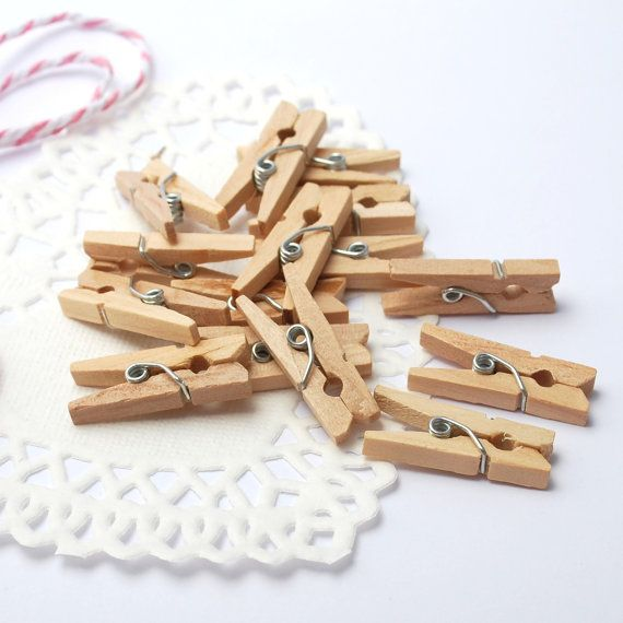 Super Cute Mini Wooden Pegs - perfect for sealing gift bags, wedding favour bags, or attaching a gift tag to a present! by PaperCottonLove on Etsy, $3.50