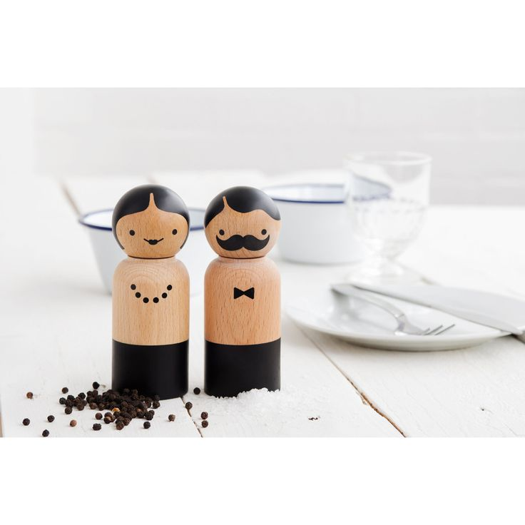 """Meet Mr Salt and Mrs Pepper: a pair of salt and pepper mills with character.  Reminiscent of old-school children's """"peg doll"""" toys, Mr & Mrs Salt & Pepper Grinders encase high quality ceramic grinding mechanisms, easily adjusted to suit coarse or fine grinds. Twist their heads and season to taste."""