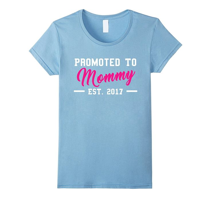 Beautiful PROMOTED TO MOMMY T-shirt (pink- baby blue- grey)