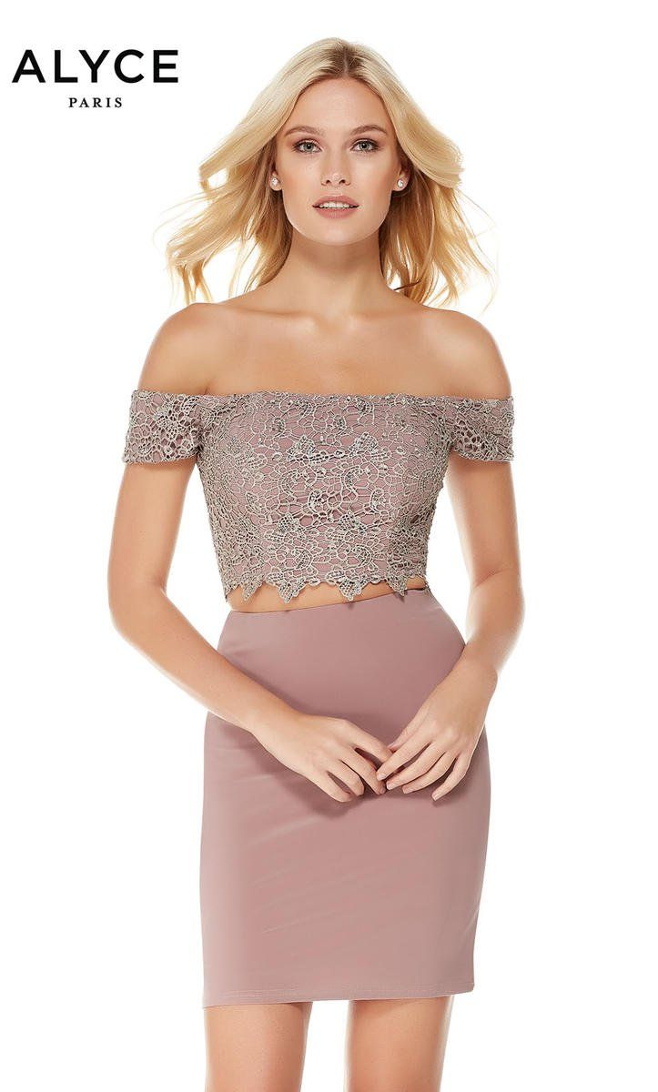d6d859e19d9a7 Alyce Paris 4043 is an off the shoulder 2 piece fitted cocktail dress with  a beaded crop top.