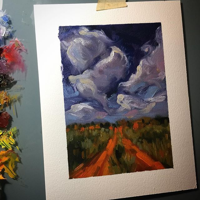 #art #drawing #sketch #sketching #instaart #rosemarybrushes #instasketch #oil #thick #texture #brushstrokes #oilpainting #arches #archespaper #archesoilpaper #impasto #oilsketch #quick #allaprima #landscape #cloudscape #clouds #doodle